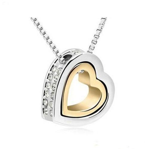 collar corazones cristales zirconia plateado / dorado n-503
