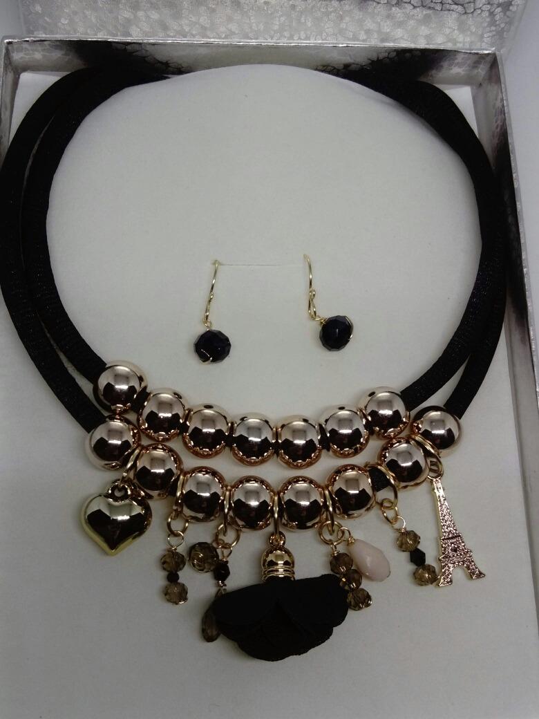 087e583491f7 Collar Cordones Flores Negro Bisuteria Moda Mujer Navidad -   250.00 ...