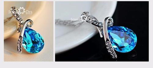 collar cristal cadena plata