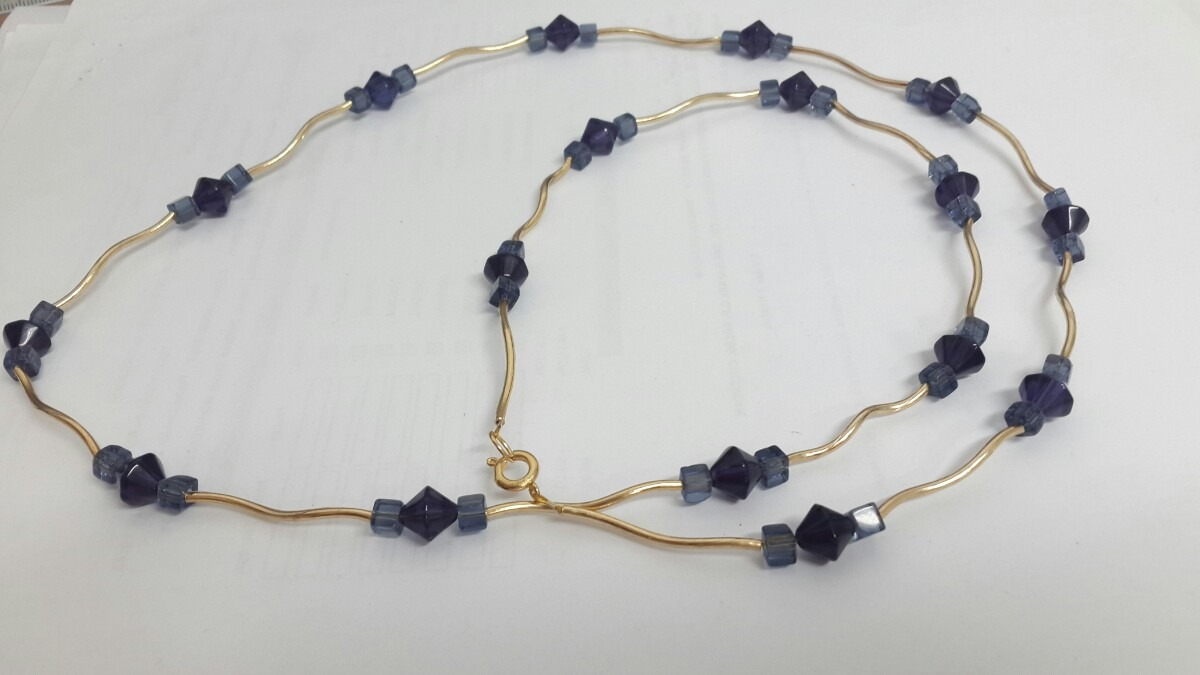 Bisuteria Collar Largo Cristal Y Chapa De Oro Elegante