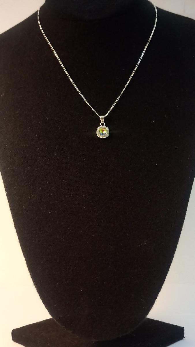f72e518f37a4 Set Collar Flor Cristal Plata Ley .925 + Cadena + Estuche -   337.00 ...