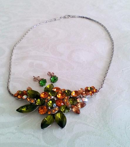 collar cristal swarovski con zarcillos.