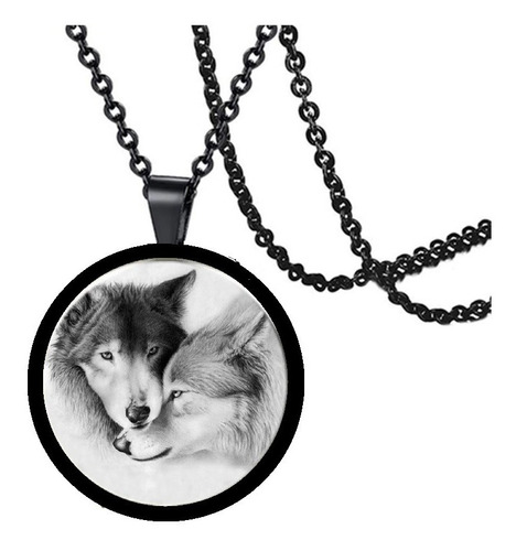 collar cristal vikingo runas brújula lobo para hombre mujer