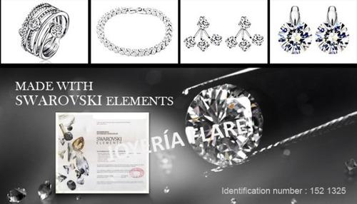 collar cristales swarovski y baño oro blanco - envío gratis