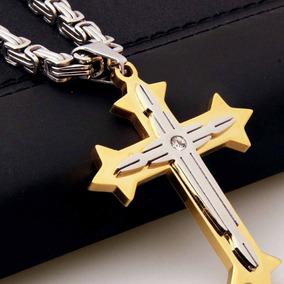 b164922d5680 Collar Cruz Iglesia Ortodoxo Joyas Cristiano Hombres Acero I