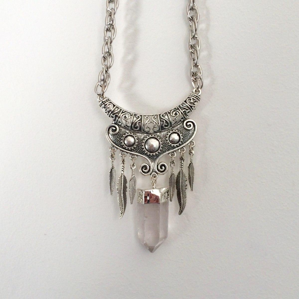11b6f71ac833 collar cuarzo cristal cadena de metal largo medio. Cargando zoom.