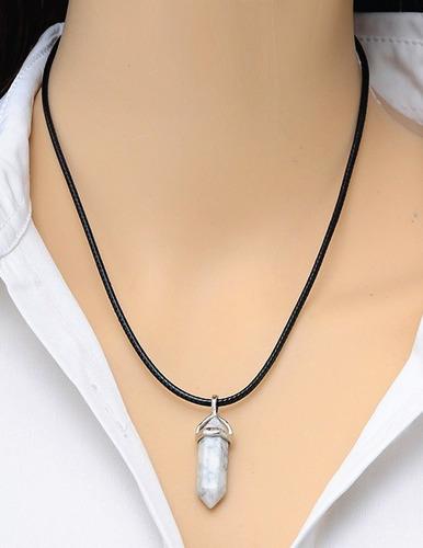 collar cuarzo cristal + collar vinipiel + precio mayoreo