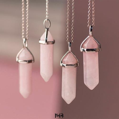 collar cuarzo rosa 4 cm 100% natural cadena acero inoxidable