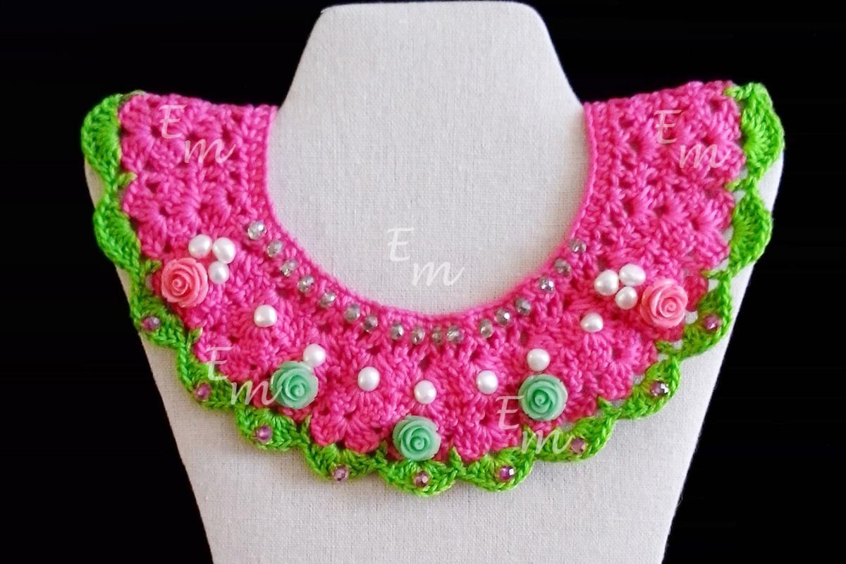 Collar Cuello Tejido Crochet Peter Pan Flores Resina 39900 En