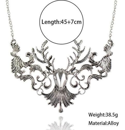 collar cuernos de ciervo metalico para mujer cadena 45+7 cm
