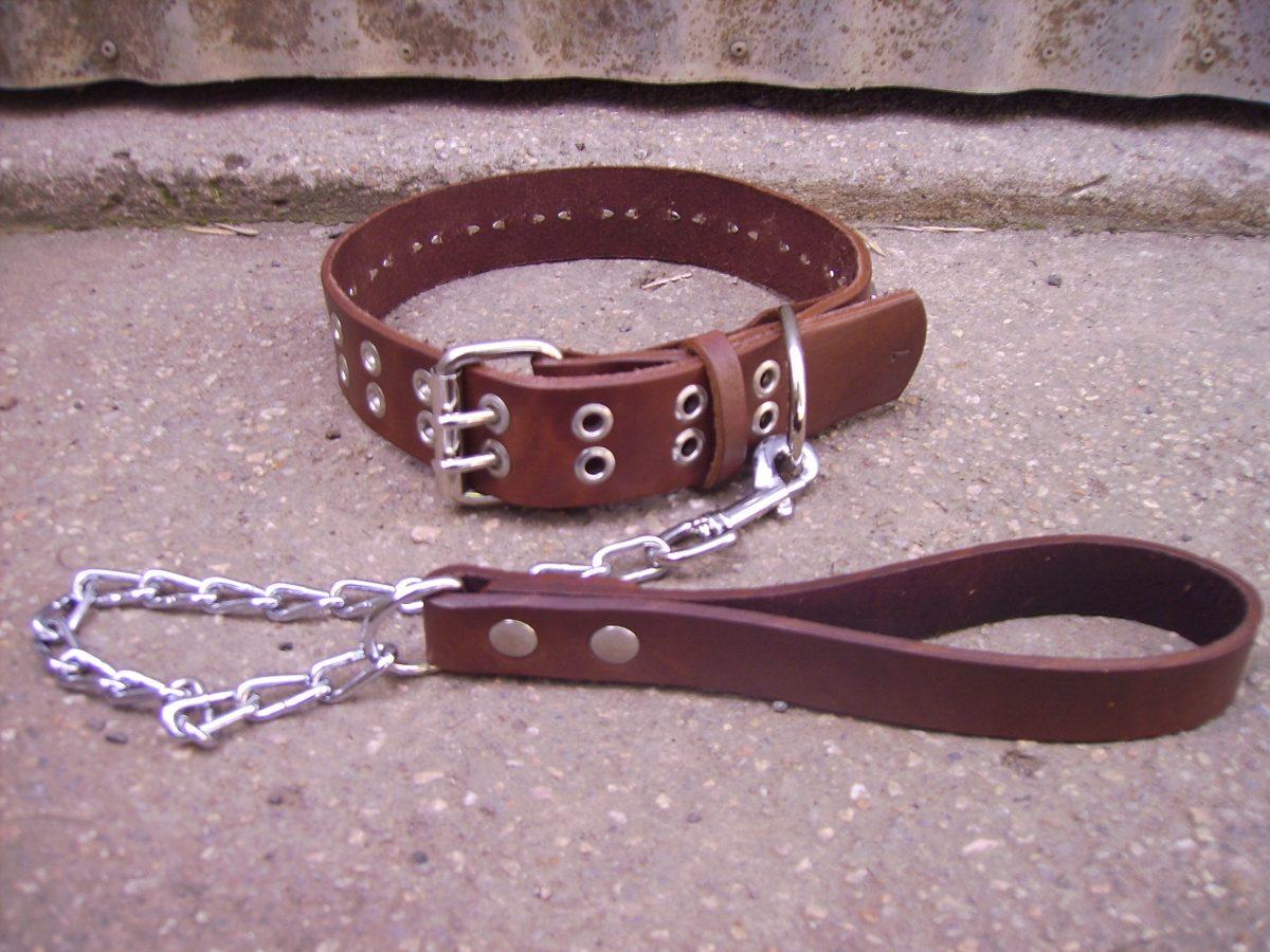 collar cuero tacha + correa cadena perro super reforzado