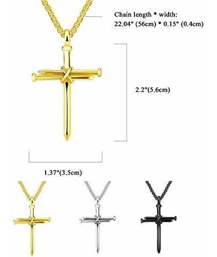 Cadena de 56 cm Cupimatch Collar con Colgante de Cruz de Acero Inoxidable
