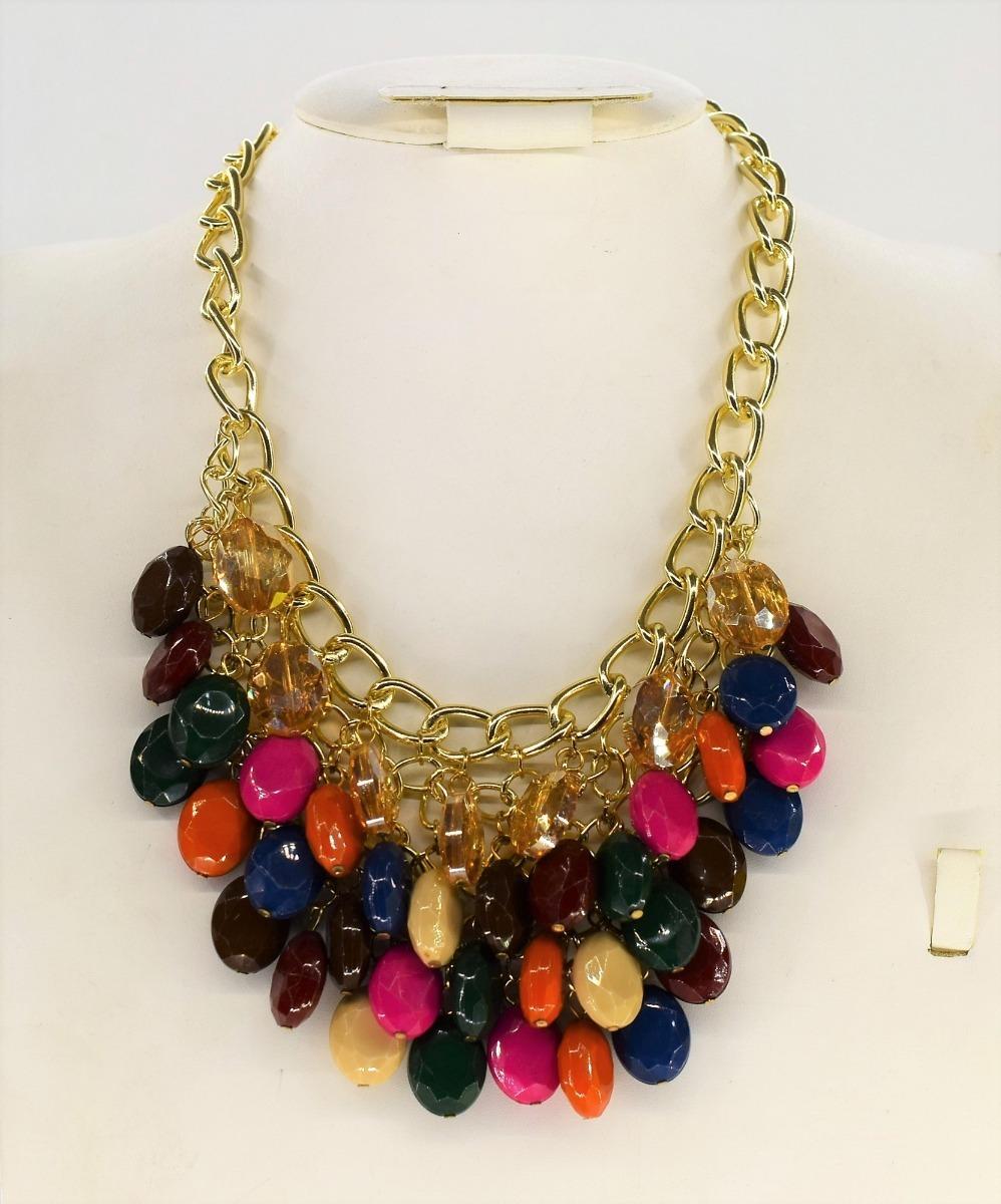 06b57c69059d Collar Dama Cadena Colores Bisutería Moda Importada -   299.00 en ...
