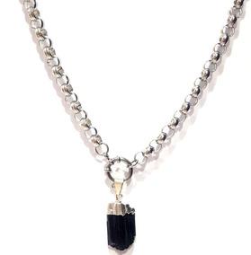7122966b5aae Collar De Acero Con Turmalina Negra Exclusivo De Coquette