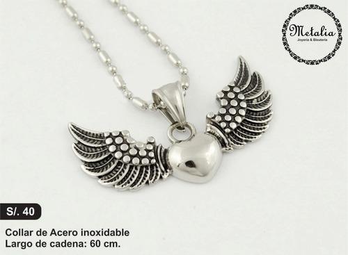 collar de acero corazón con alas
