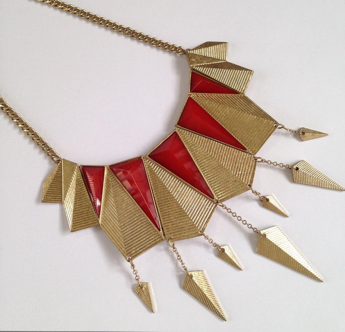5117832c4878 Collar De Bisuteria Fina Color Rojo Con Dorado -   115.00 en Mercado ...