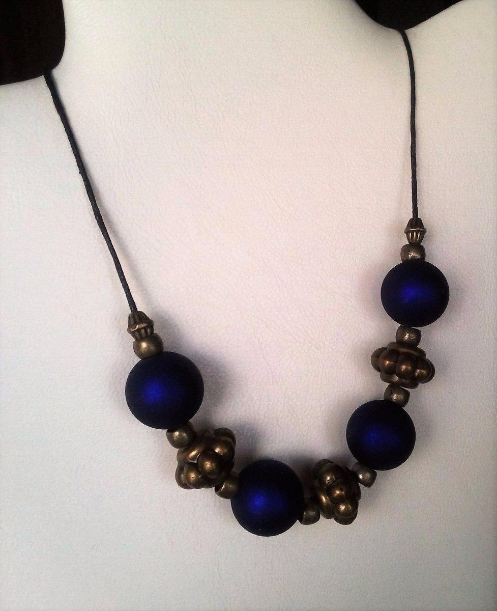 adca58b04f7e collar de bolas texturizadas azules y fornit. bronce 04002. Cargando zoom.