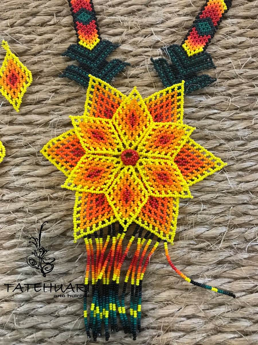 Collar De Chaquira Huichol Artesanía Huichol Amarillo