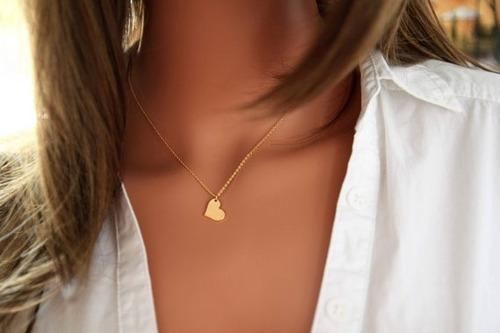 collar de corazon con baño de oro con cadena 3 mm