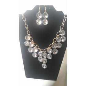 Collar De Cristal Con Cadena Y Aretes