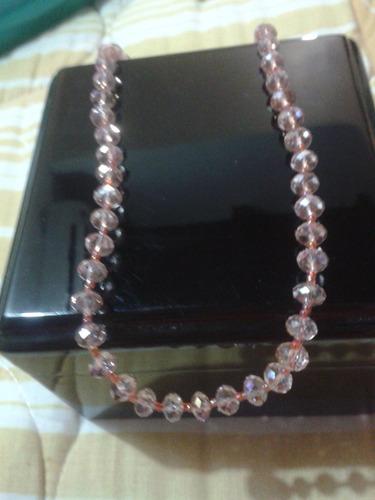 collar de cristal rosado, nuevo