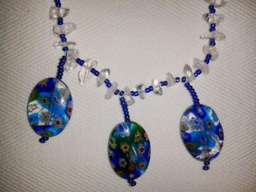 collar de cuarzo cristal y murrina