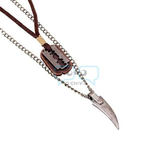 collar de cuero y metálico doble dije colmillo gillete qchvr