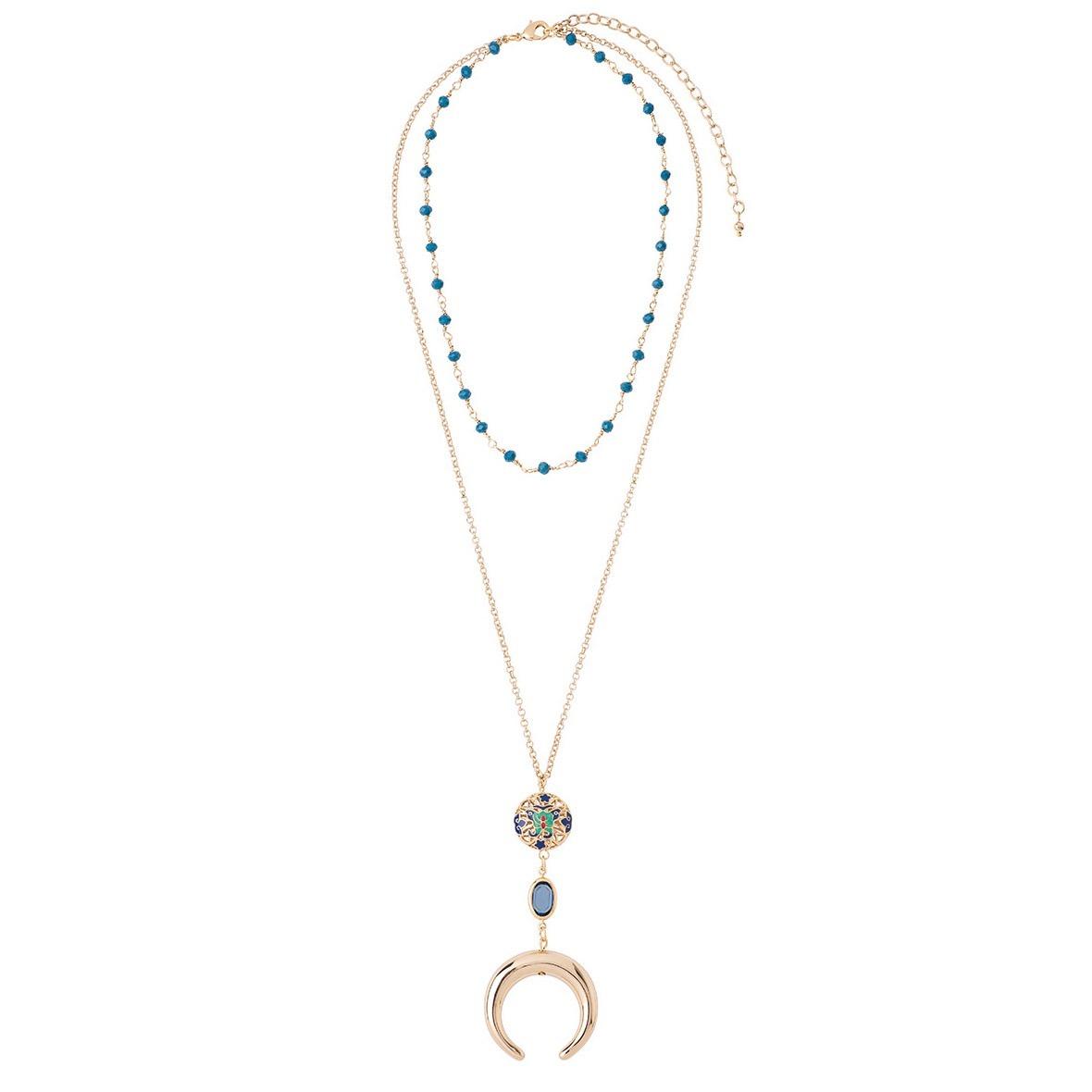 c55ca9caebd4 collar de dama baño de oro 18k y cristal azul nice 218546. Cargando zoom.