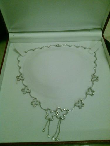 collar de diseñador ...oro blanco 18 k con diamantes