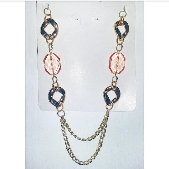 67a0cf8c272d Collar De Fantasía Dorado Con Piedras Color Coral. Nuevo -   120.00 ...