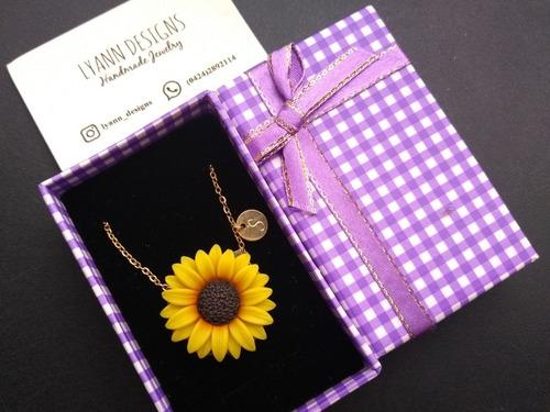 collar de girasol 10vrds laminado de oro + caja