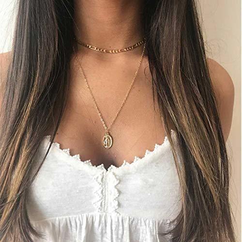 Gargantilla para Mujer con m/últiples Capas Color Dorado Jovono