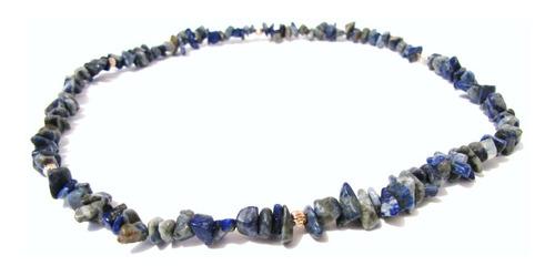 collar  de lapislazuli natural, oro de 14k de hermo espinosa