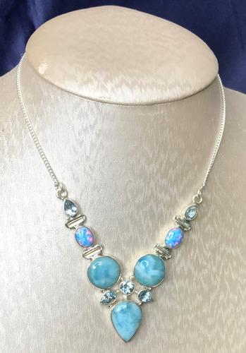collar de larimar, topacios azules y opalos en plata ley 925
