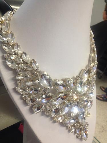 collar de lujo cristales marquise claros (nuevo)