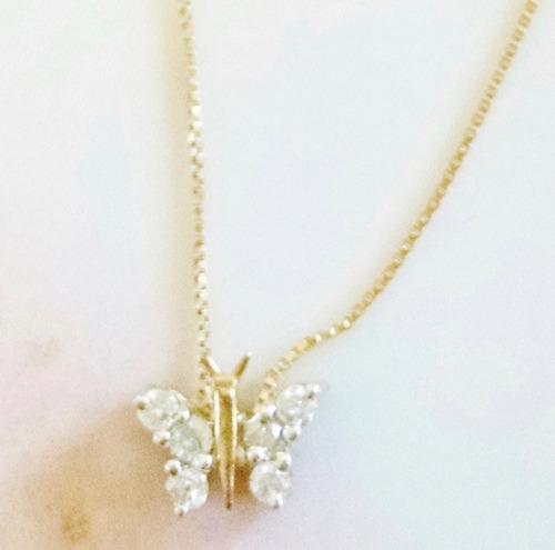 collar de mariposa con diamantes 40cm oro blanco 14k