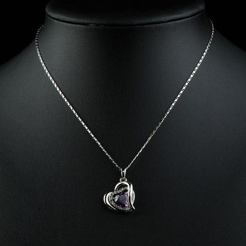 collar de mujer corazón oro blanco 18k entrega a domicilio