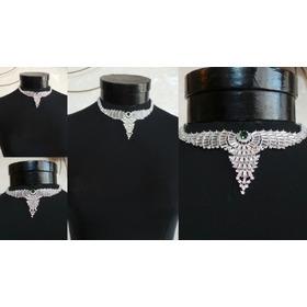 Collar De Noche Con Cristales Y Piedra Verde