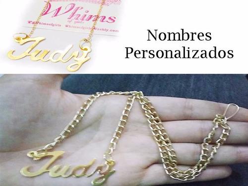 collar de nombre personalizado con baño de oro y cadena 3mm