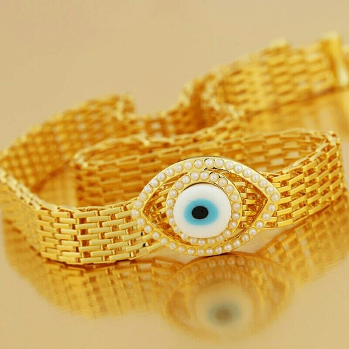 collar de oro 14k laminado con ojo de cristal.