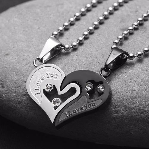 collar de pareja corazon heart acero inoxidable negro