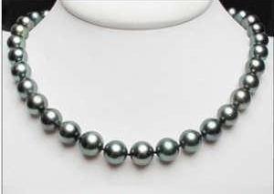 Collar De Perla Negra Genuina C Broche De Plata 206.00 Qt