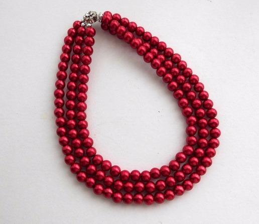 a3917bb72513 Collar De Perlas Color Rojo Tres Vueltas -   390