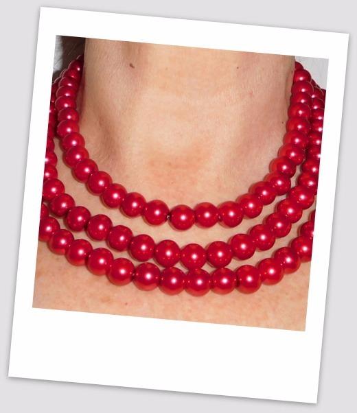 1fc3cccdd788 Collar De Perlas Color Rojo Tres Vueltas -   390