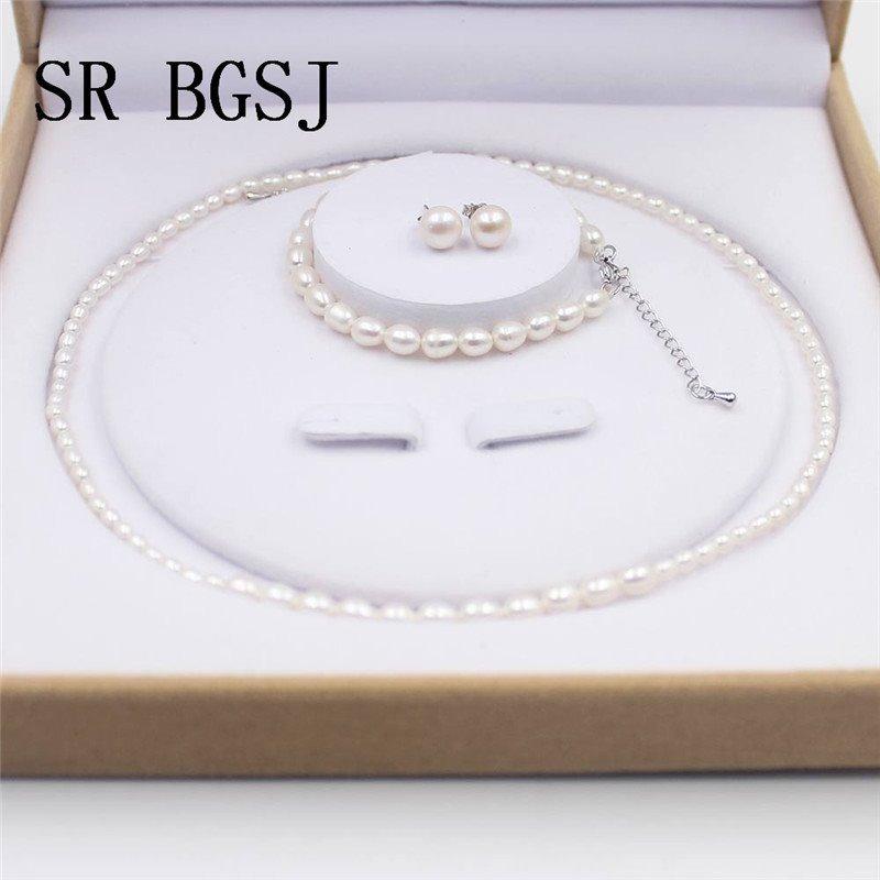 607e9b9f74ca Collar De Perlas Con Pulsera Y Aretes Cultivadas