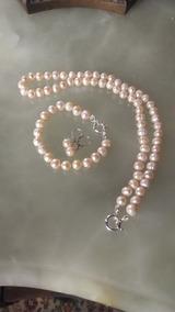 0e43e754fc91 Collar De Perlas Cultivadas 10 Mm Y Plata 925+pulsera+aros