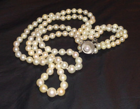 316dd623015b Antiguo Collar De Perlas Cultivadas 3 Vueltas Broche Dorado en Mercado  Libre Argentina