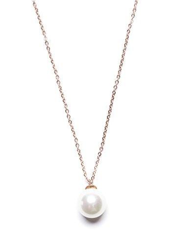 collar de perlas de imitación de perlas de oro blanco | eleg