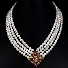 daab22f9fc3a Collar De Perlas De Mar Y Citrinos Naturales, Barroco , Dc25