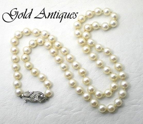 491e97c50230 Collar De Perlas Naturales Con Broche De Oro 18 Kt Y Brillan ...